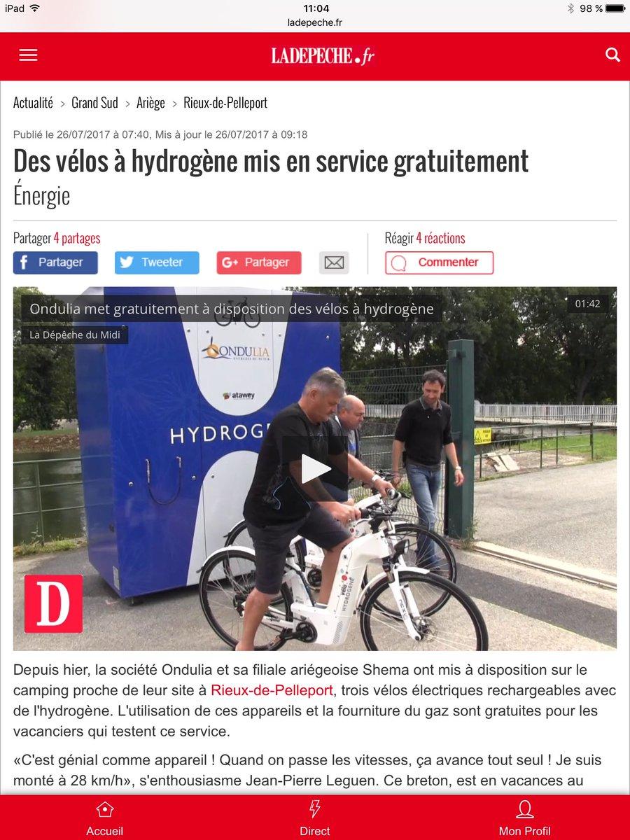 RT @Lecocq_dom Vous êtes en vacances dans l'#Ariège ? L'occasion de tester gracieusement des vélos 🚲 à #hydrogène https://t.co/2EYUhSGXKr @ladepechedumidi