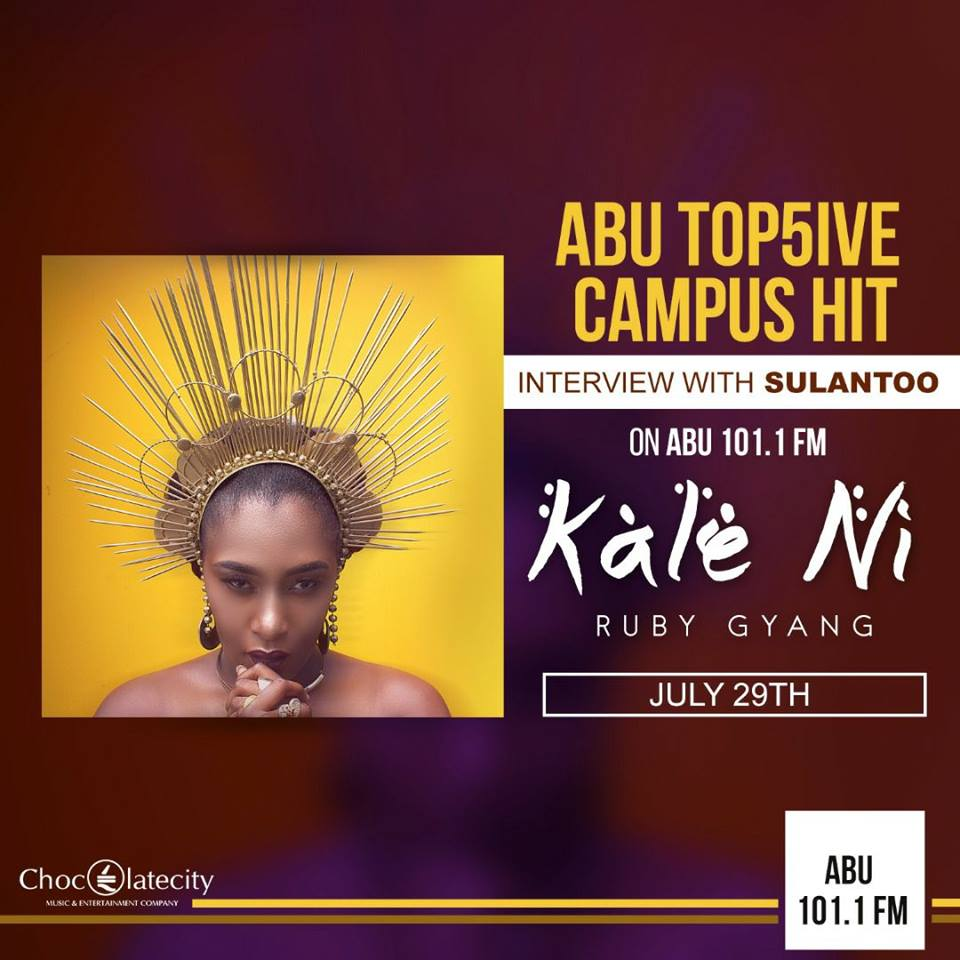 @Audu CATCH HER LIVE ON ABU FM 101.1 ON THE 29TH WITH YOUR BOY @sulantoo #RubyNothernMediaTour #May1st #DotMagazine #ChocCity<br>http://pic.twitter.com/NQiKHQ5Iak