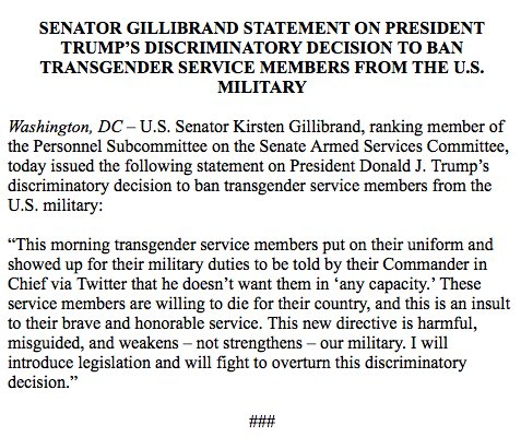 New York's @SenGillibrand says she'll introduce legislation to overturn Trump's transgender military service ban: