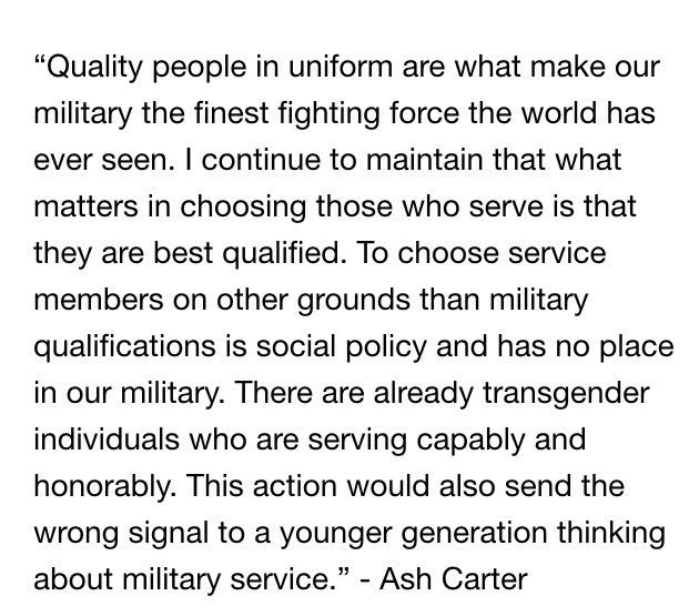 Former Secretary of Defense Ash Carter released the following statement this morning on #transgender service in the military: <br>http://pic.twitter.com/5zHTFgGDlb