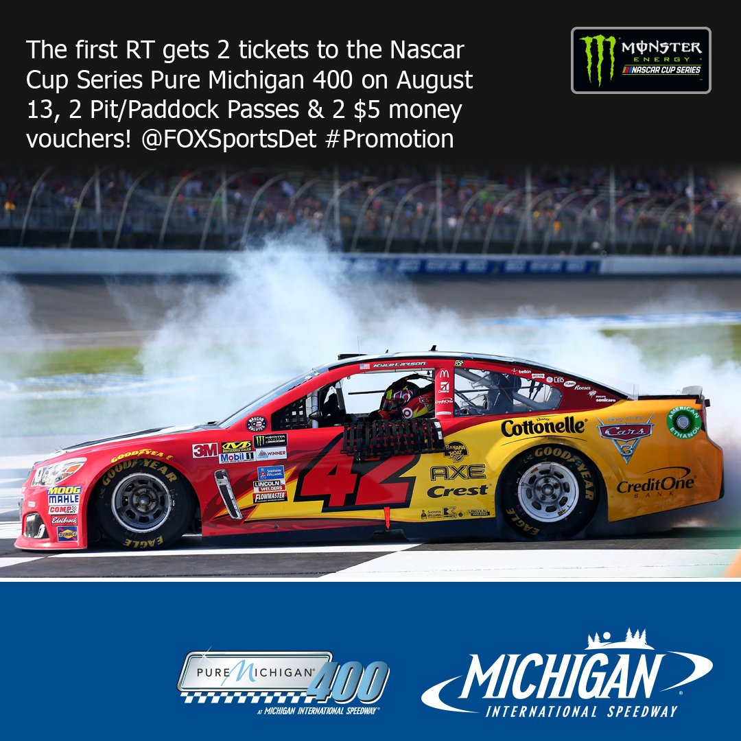 The first RT gets 2 tickets to the Nascar Cup Series Pure Michigan 400 Aug.13, 2 Pit/Paddock Passes &amp; 2 $5 vouchers @FOXSportsDet #Promotion <br>http://pic.twitter.com/NZpULIjOwM