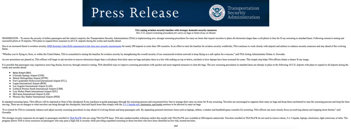 JUST IN: TSA to now require all electronics larger than cell phones to go through X-ray screening at all US airports following pilot program