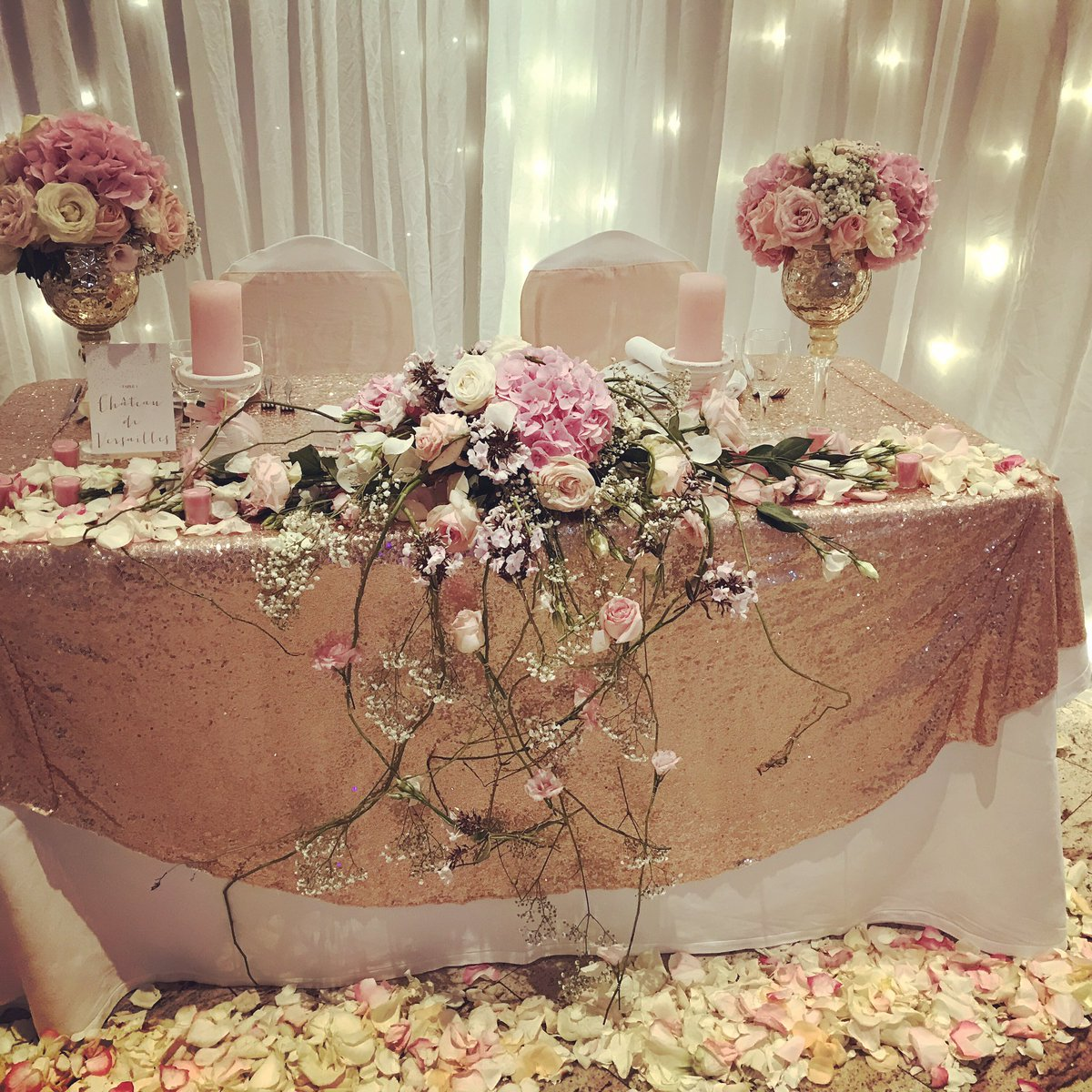 decoration mariage rose et or. Black Bedroom Furniture Sets. Home Design Ideas