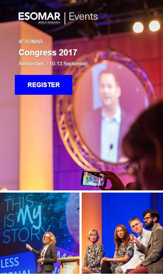 #ESOMAR #Congress: 27+ client case studies, 3 stages, 4 days, 1200 attendees + 1 HUGE 70th!  http:// bit.ly/2pYPiP1  &nbsp;   #datascience #mrx #newmr <br>http://pic.twitter.com/Acyb6dfCxn