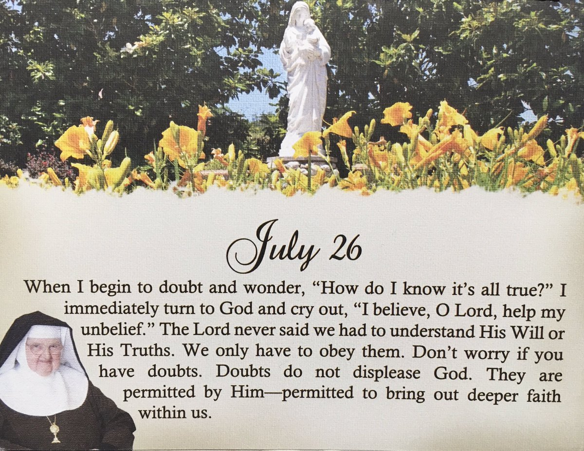 Today&#39;s Quote from #MotherAngelica Perpetual Calendar #Catholic #Belief #Unbelief #God #Will #Truth #Obey #Faith<br>http://pic.twitter.com/ROgUXx7Tbf