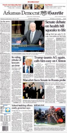 Today's Democrat-Gazette front page. Read the day's top stories at https://t.co/OL0nx4gkBU