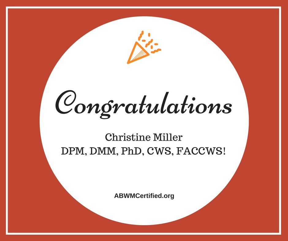 Congrats Christine Miller DPM, DMM, PhD, #CWS, FACCWS on becoming Co-Director of #Wound Care/Limb Salvage at UF!  http:// ow.ly/zPC430dGK0o  &nbsp;  <br>http://pic.twitter.com/AAnOVSeldZ