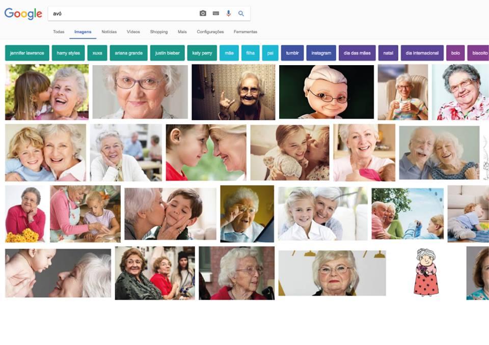 Para ser 'avó' é preciso ser mulher, branca, de olhos claros, cabelo grisalho e bem velhinha. Pelo menos é o que sugere a busca no Google.