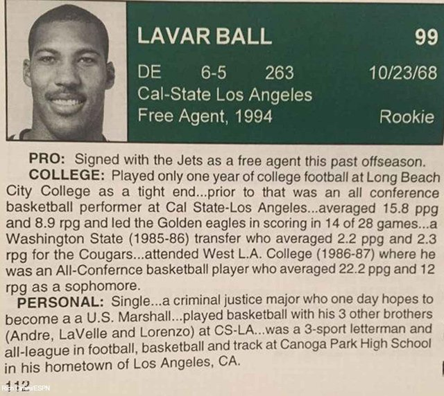 1994 Jets Training Camp had some new faces including Art Monk, Ronnie Lott...and LaVar Ball.
