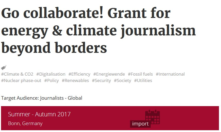 Go collaborate! #Journalists covering #energy &amp; #climate: team up and submit your story idea for one of our grants  https://www. cleanenergywire.org/grant-collabor ative-journalism-for-global-energy-transition &nbsp; … <br>http://pic.twitter.com/qOKyli1zbu
