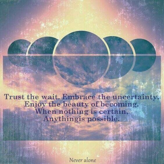 Trust the wait. Embrace the uncertainty. Enjoy the beauty of becoming. When nothing is certain, anything is possible. #trust&amp;believe <br>http://pic.twitter.com/aZIY0OLBdA