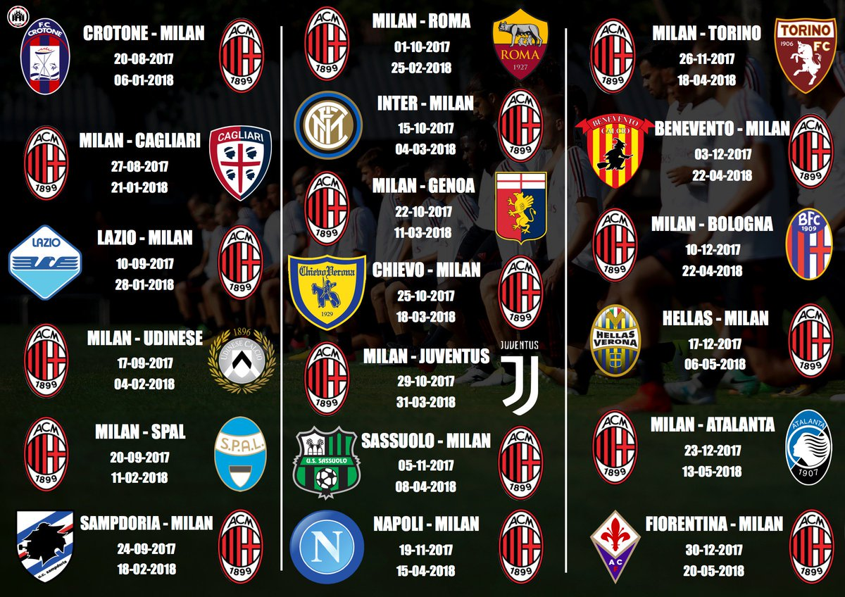 Milan Ac Calendrier.French Milanisti On Twitter Officiel Voici Le