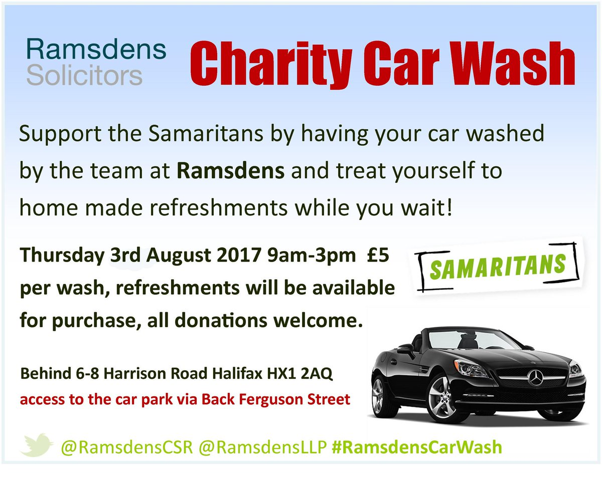 Ramsdens csr on twitter ramsdensllp are holding a carwash for ramsdens csr on twitter ramsdensllp are holding a carwash for samaritans next week if your in halifax just park up whilst we do the rest charityhour solutioingenieria Image collections
