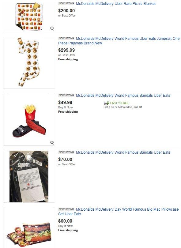 Love creative #Marketing, but the @McDonalds @UBER @UberEATS execution failed. Drivers selling #swag on @eBay?!    https://www. ebay.com/sch/i.html?_od kw=mcdonalds+sweatshirt&amp;_osacat=0&amp;_from=R40&amp;_trksid=p2045573.m570.l1313.TR11.TRC2.A0.H0.Xmcdonalds+uber.TRS0&amp;_nkw=mcdonalds+uber&amp;_sacat=0 &nbsp; … <br>http://pic.twitter.com/0Rk1dIBAT5