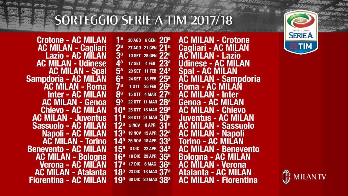 Milan Ac Calendrier.Ac Milan News On Twitter Voici Le Calendrier Complet De