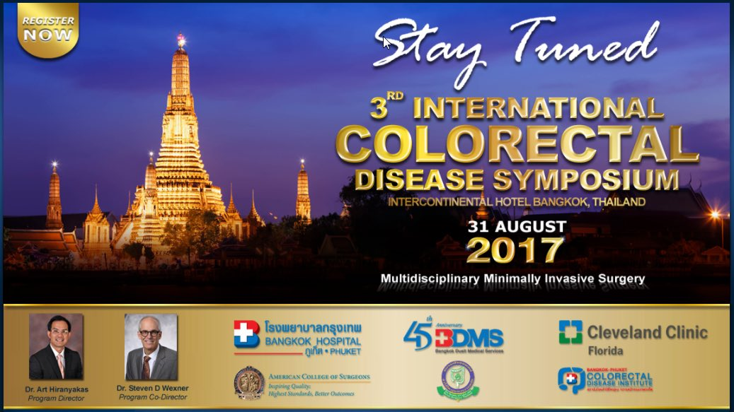 Mark your calendars for 3rd biennial @BangkokHospital #colorectalsurgery program by @CleveClinicFL alumnus @ArtHiranyakas @AmCollSurgeons<br>http://pic.twitter.com/mBP7RFLy9g