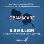 6.5 million people chose to pay an #IRS fine to avoid #Obamacare. Just as many people live in #Wisconsin and #Alaska - combined.