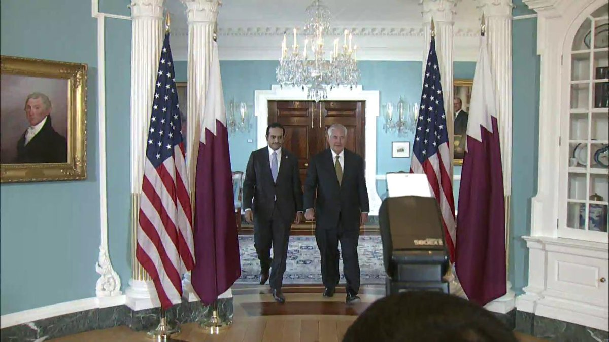 Secretary of State Rex Tillerson welcomes #Qatar's Foreign Minister Sheikh @MBA_AlThani_ to @StateDept.