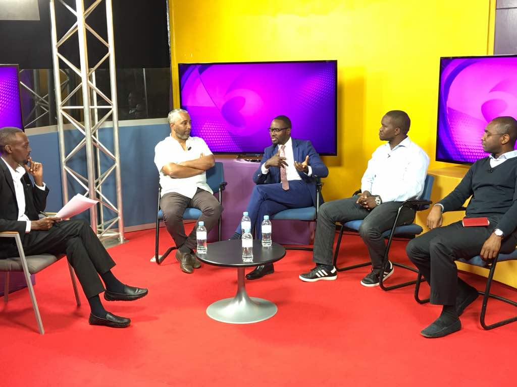 The panel discussing the state of democracy in #Africa. @ssojo81 @ygwet @albcontact @Kenagutamba. It was a pleasure hosting you gentlemen.<br>http://pic.twitter.com/JdfGg11XHJ