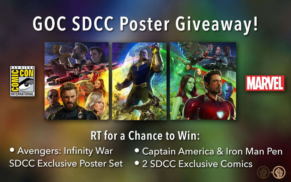 RT &amp; Follow for a chance to win the &#39;Avenger: Infinity War&#39; SDCC poster set and a few other prizes! Picking 3 winners 8/2! #InfinityWar <br>http://pic.twitter.com/V46meUCeyX