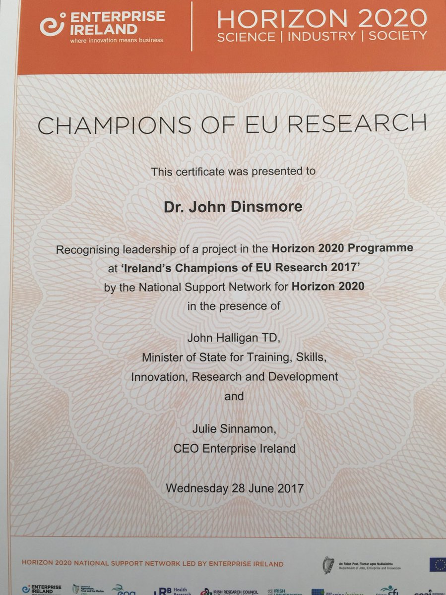 Always good to get recognition for the hard work going on within the Centre :) @TCD_SNM @abrady4 @ProACT2020 #EU #research #H2020<br>http://pic.twitter.com/eBFKKFbLtA