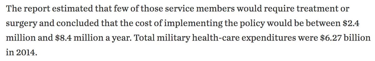 From a report commissioned by the pentagon last year. Let's not tolerate blatant transphobia under the guise of some huge 'financial burden'