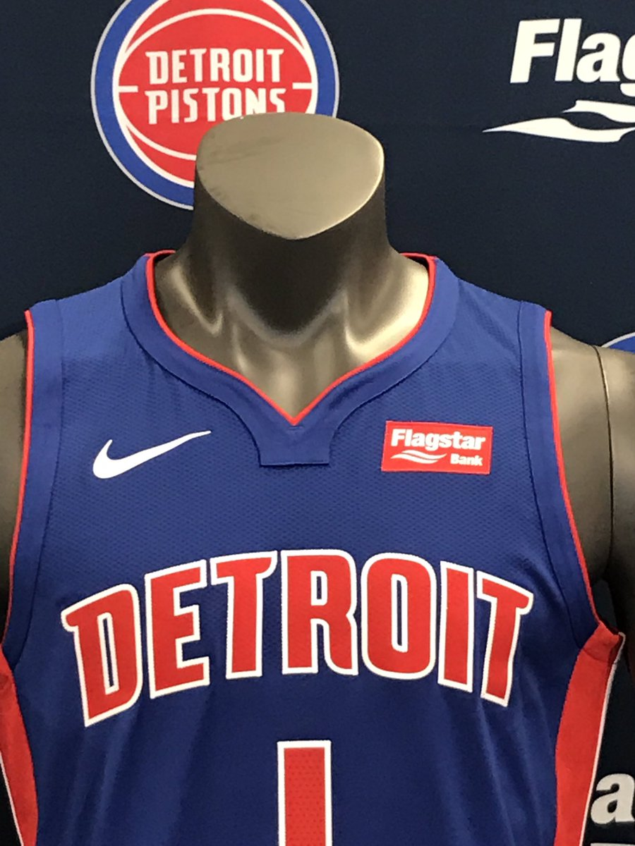 Pistons jerseys with Flagstar Bank sponsor patchpic.twitter.com Jw7DAY77S3 84a77952f