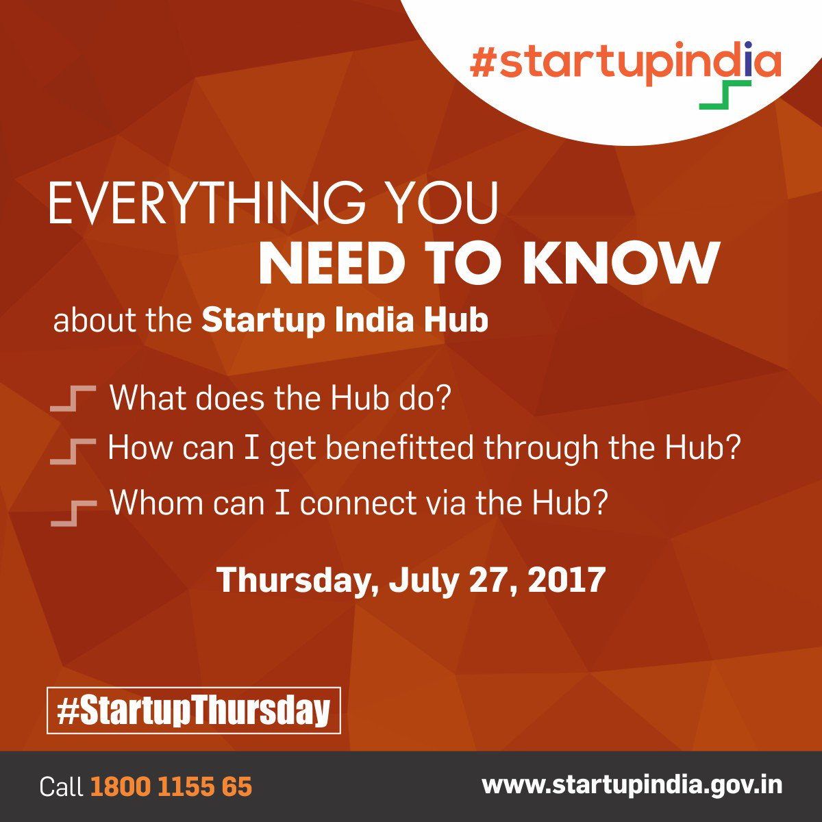 Get answers to all your queries about the hub. Watch out for the #StartupThursday session to know more. #StartupIndia <br>http://pic.twitter.com/yj1vbrwTwW