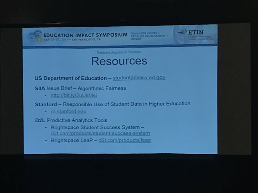 Resources from #PredictiveAnalytics panel at #ETINSIIA. #edtech #StudentPrivacy https://t.co/gFpdnAQYsf
