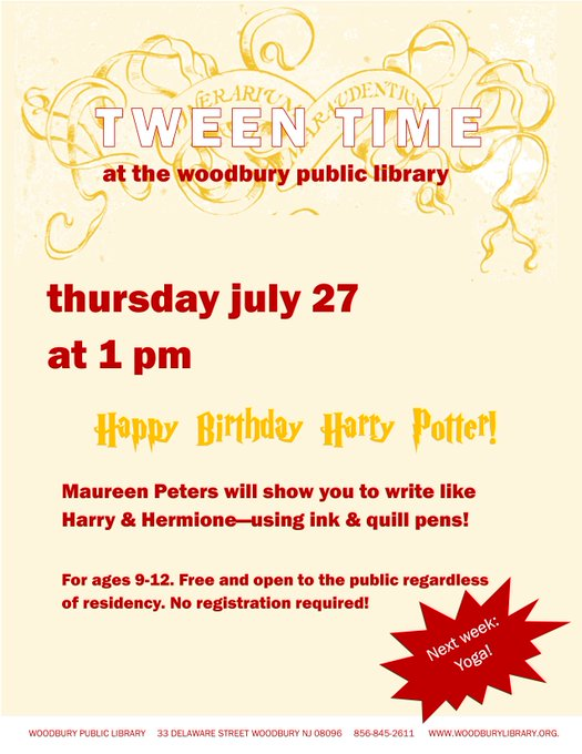 TWEEN TIME | Happy Birthday Harry Potter! July 27 at 1 PM