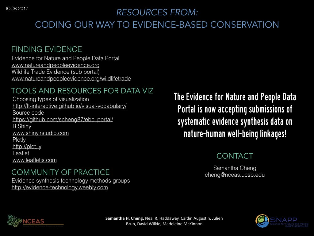 Resources for #dataviz for #evidencesynthesis &amp; evidence-based #conservation from today&#39;s talk @#ICCB2017 @DavidGillMarine @SNAPPartnership<br>http://pic.twitter.com/AdBKEzbLvv