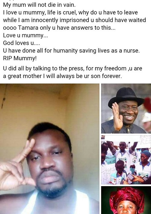 A concerned youth from the Niger Delta Bayelsa State accused ex-President, Ebele Goodluck Jonathan for being the cause of the death of his mother.