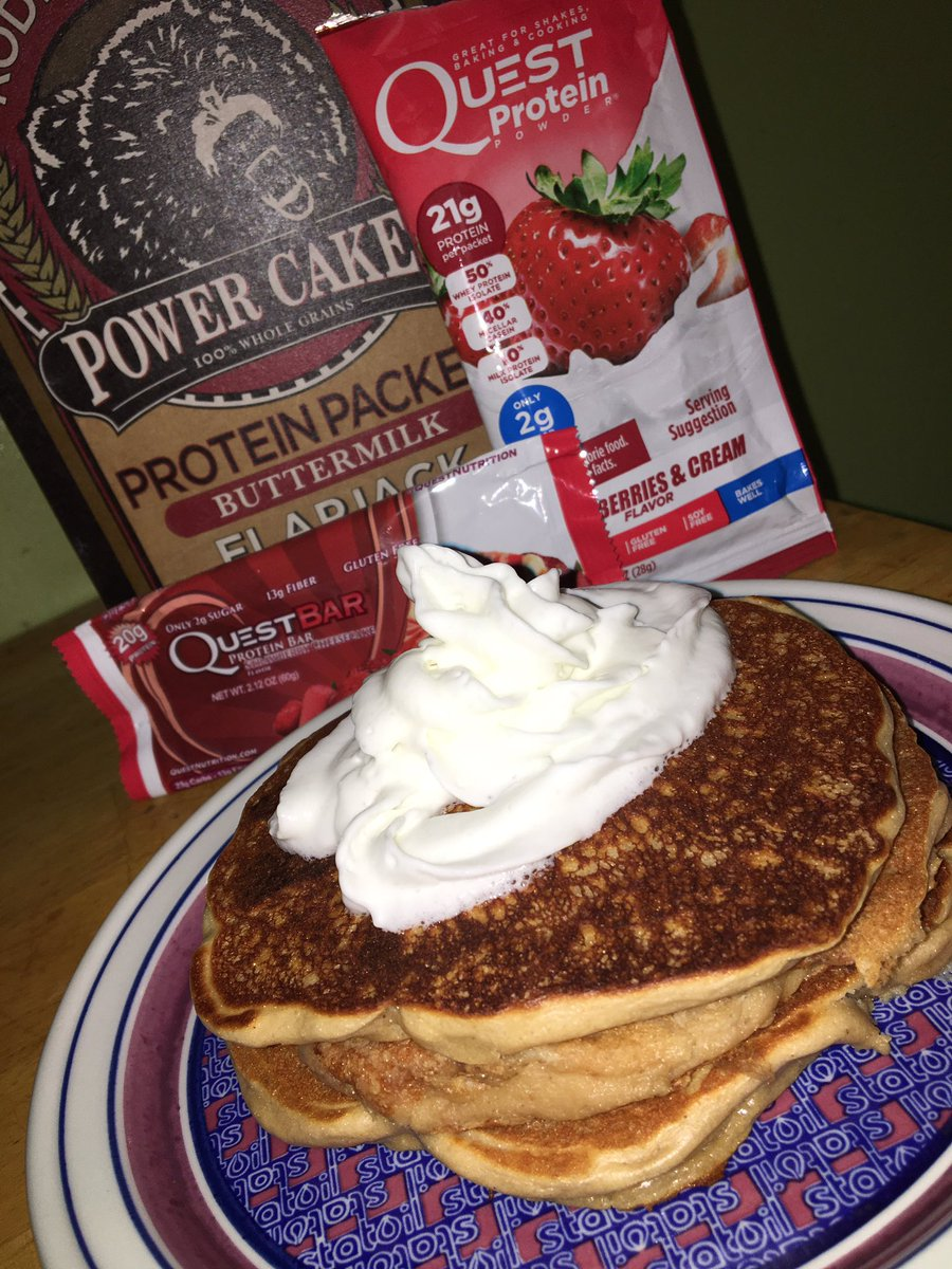 Another one. @KodiakCakes x @QuestNutrition  Strawberry Cheesecake Protein Pancakes    #fit #food <br>http://pic.twitter.com/qPXQG5B5R0
