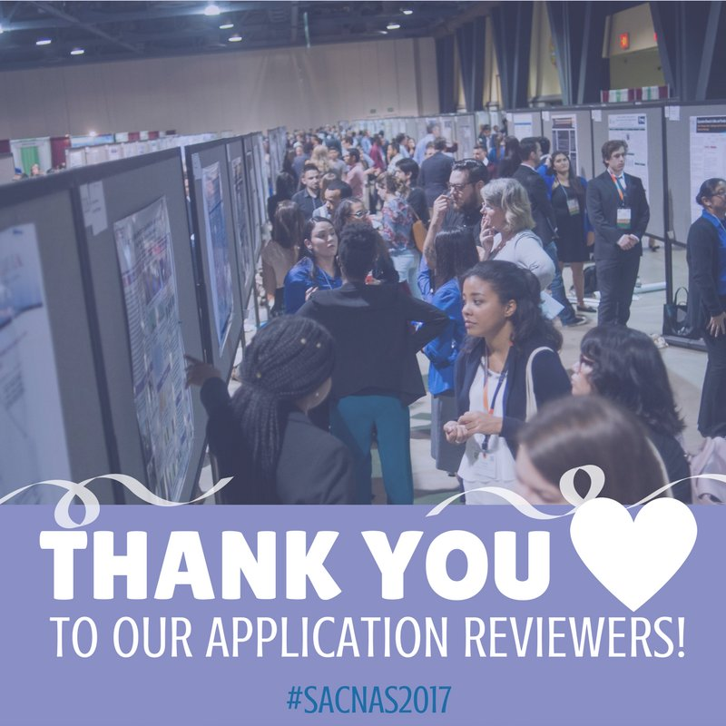 A big THANK YOU to the amazing 14 #volunteers who already finished reviewing their research presentation applications for #SACNAS2017! <br>http://pic.twitter.com/Id0oNZ8s0F