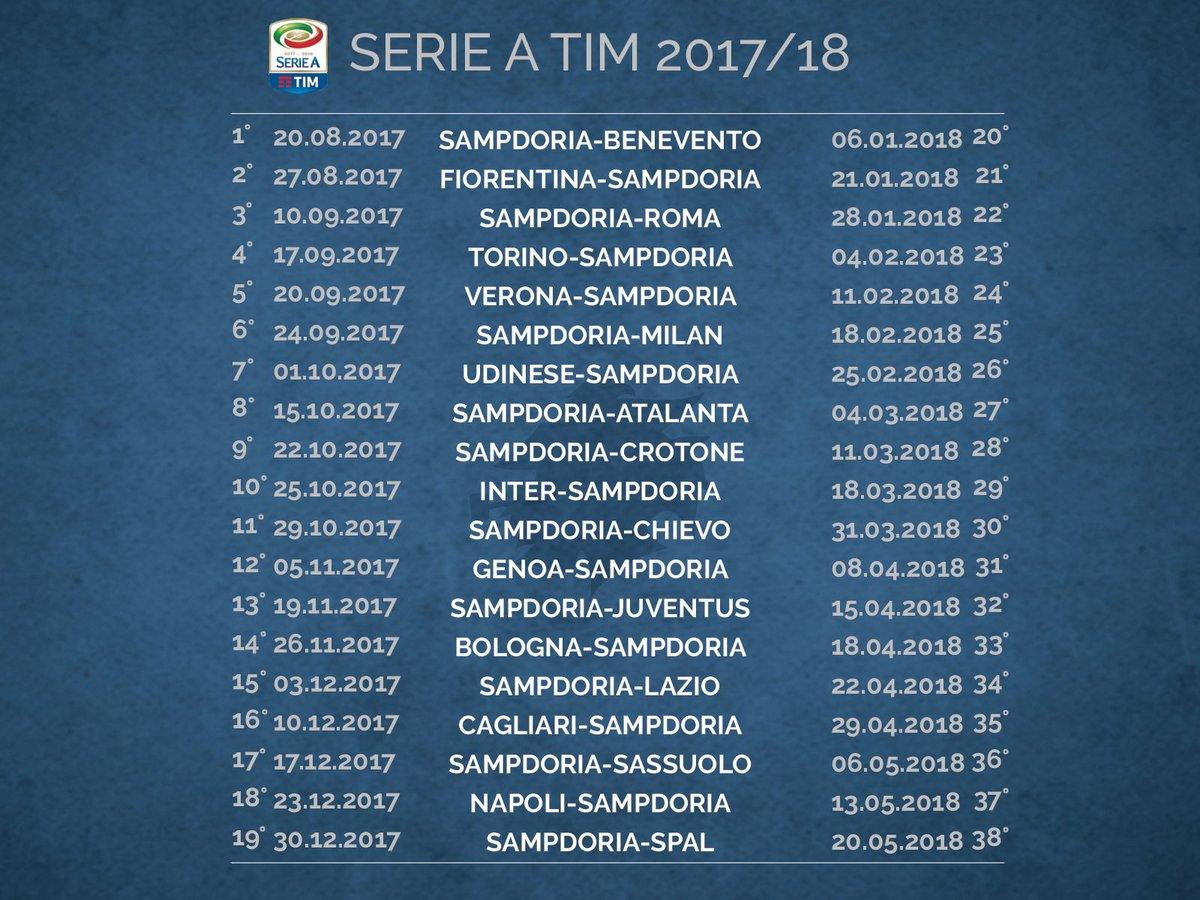 Calendario Serie A Sampdoria.Calendario Sampdoria 2017 2018