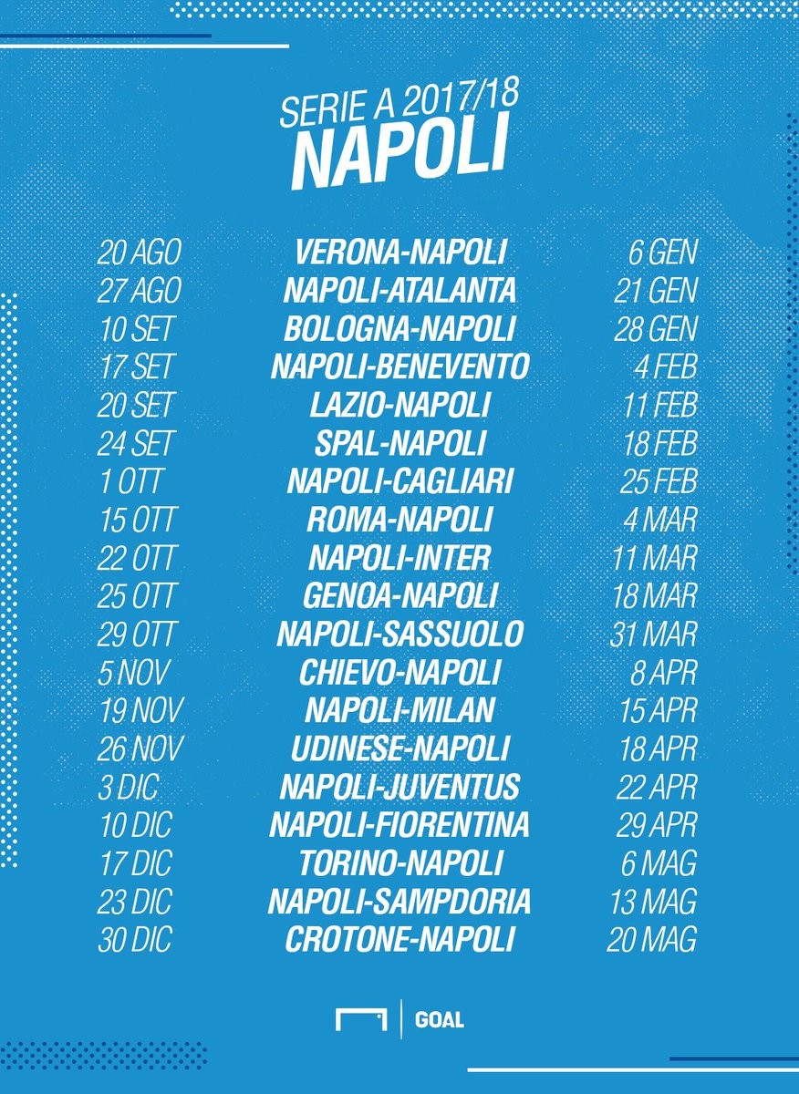 Calendario Serie A Del Napoli.Sergio Chesi On Twitter Il Calendario Del Napoli Nella