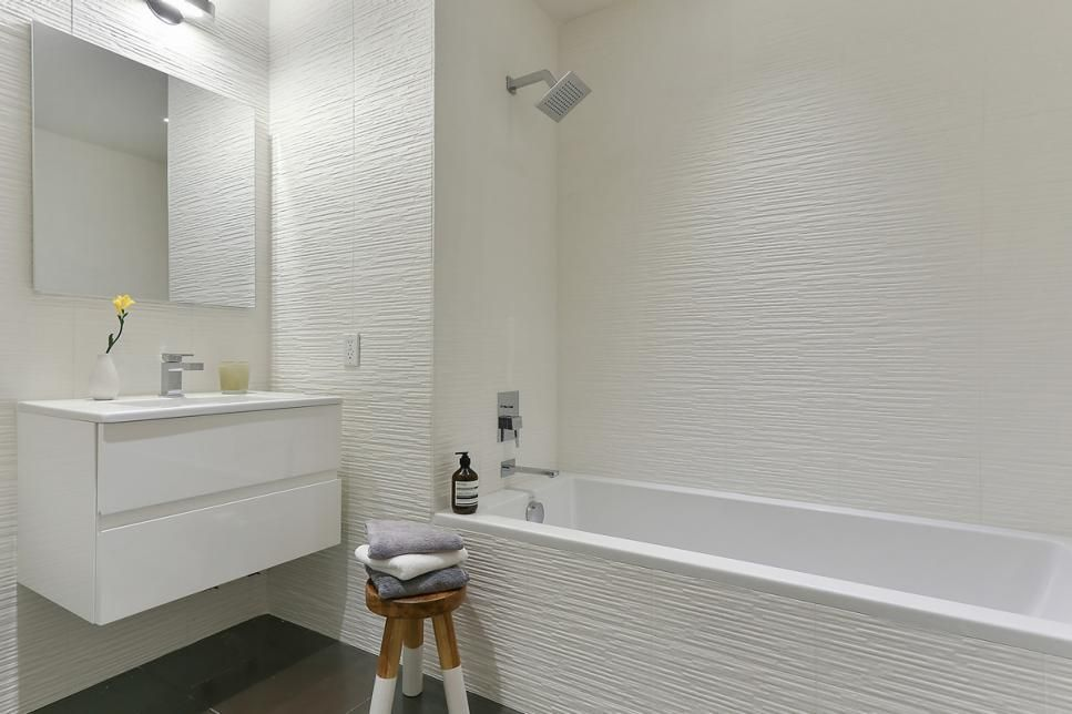 Texture tiled walls in bathrooms is a growing trend! What do you think of this look? #texture #tile #bathroom #Remodel<br>http://pic.twitter.com/AGq2RZWn2r