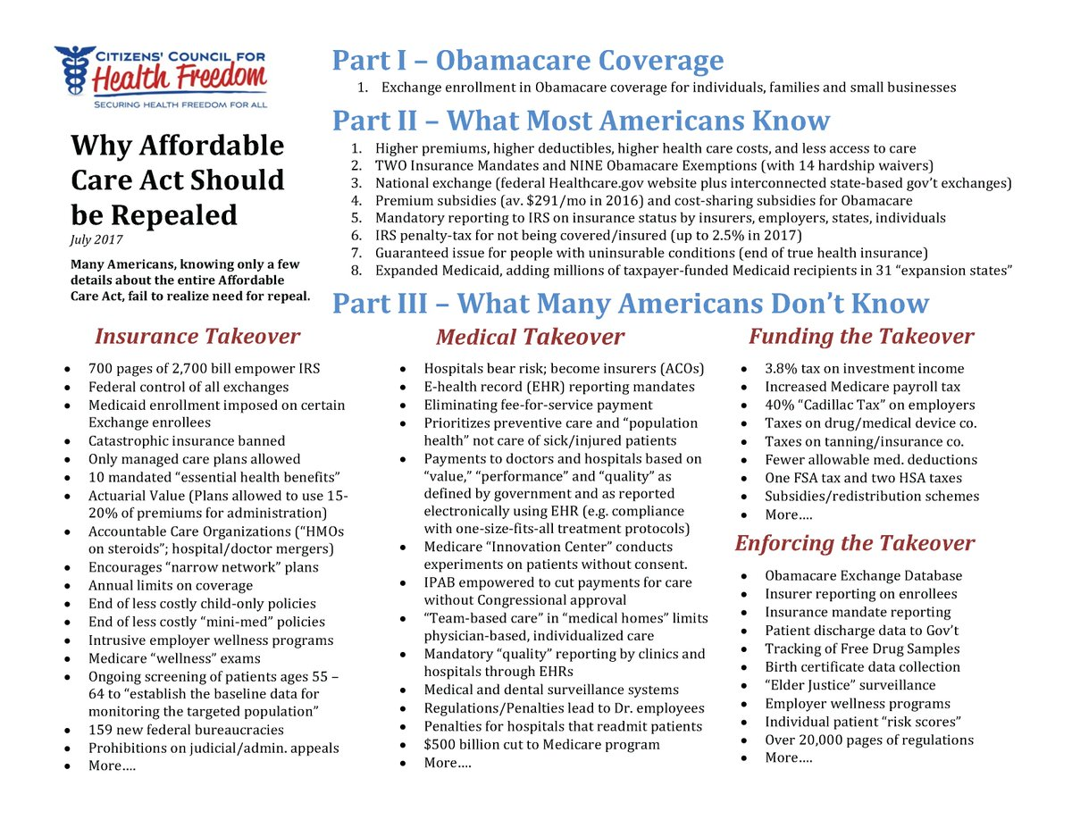 """""""If Congress and Americans Knew True Nature of Affordable Care Act, a Repeal Vote Would Be Easy"""" ~@TwilaBrase. https://t.co/gv43lFVeYi"""