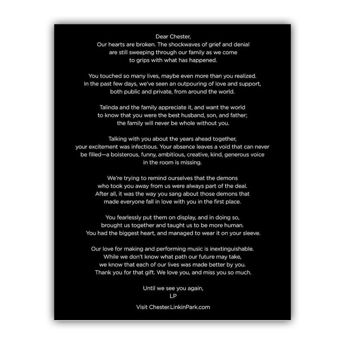 The2OC on Twitter Linkin Parks farewell letter to Chester