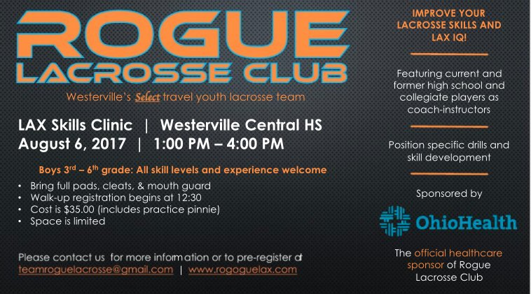 Rogue Lacrosse Club: Lax Skills Clinic, Boys 3rd - 4th Grade.  August 6th at Westerville Central HS.  Please share. #lax #growthegame<br>http://pic.twitter.com/vG46sCx5Q5