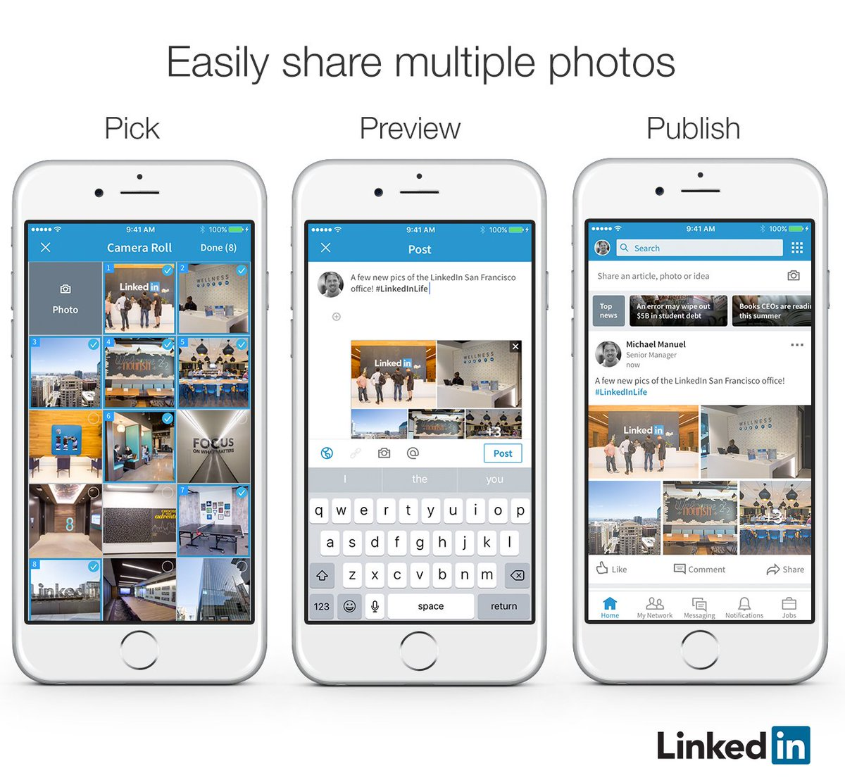 BREAKING: You can now post up to nine photos in your #LinkedIn posts -  https:// blog.linkedin.com/2017/july/25/t uesday-tip-make-your-posts-stand-out-by-adding-multiple-photos &nbsp; … !  #countemnine #SoSoShow<br>http://pic.twitter.com/F0yzfAPFpW