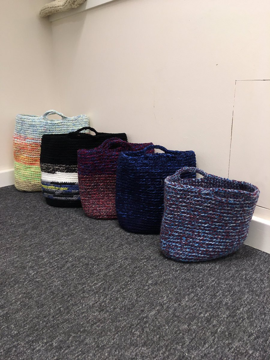 Let&#39;s see if I can sell some of these #shoppingbag #storage #baskets before I list on #Etsy #HandmadeHour from £10 plus post #upcycled #yarn<br>http://pic.twitter.com/pUPvMXJDSF