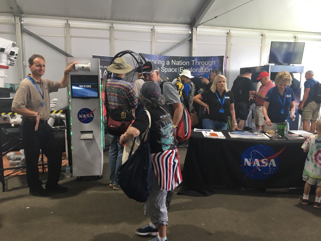Stop by the @NASA booth at #osh2017 and get your pic taken as an astro, try some VR, and snag some great #Swag! <br>http://pic.twitter.com/IpOSHYiQSg