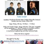 2 days until @RickyTaylor_10 @jordan10taylor and @WayneTaylorRcng visit us at @nwfstatecollege!! Sign up on the link @nwfdailynews