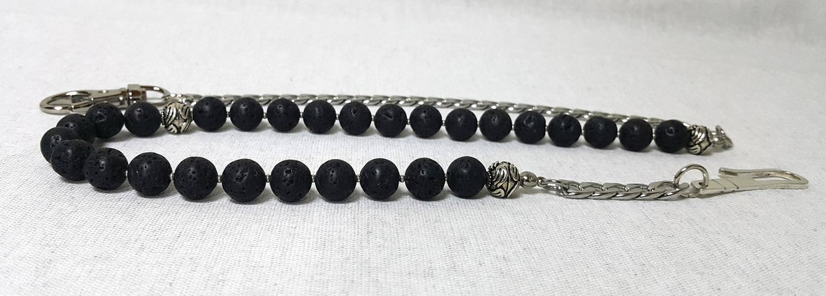 Black Lava Rock Stone Beaded Wallet Chain, Belt Accessories, Gemstone Wallet Chain, 925  https:// seethis.co/9Gy71/  &nbsp;   #handmade #onlineshopping<br>http://pic.twitter.com/dRuTuvcEFh