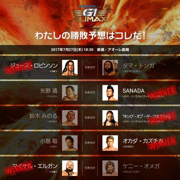 【G1 CLIMAX 27 】<7.27 新潟> 勝敗予想! g1climax.jp/predict/locale… #njpw #g127 #g127予想 #g127_0727長岡 #g127_長岡_12221