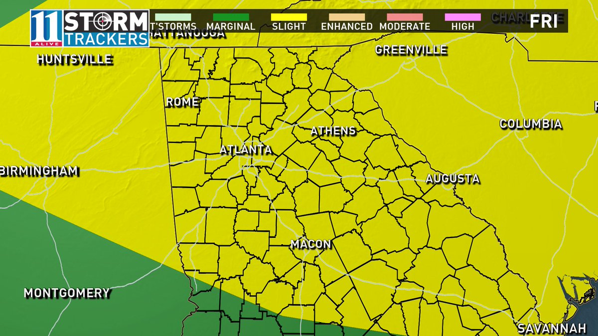 Increasing risk for severe weather late Fri. The approaching front is capable of producing severe storms. #11Alive