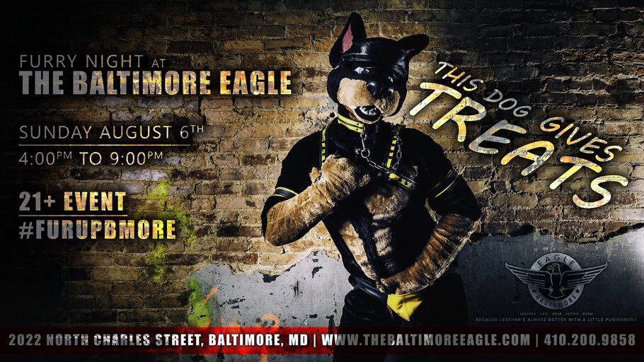 Sunday August 6th the Furries are back! One of our most popular events! 4-9pm! #FurUpBmore #BeYou <br>http://pic.twitter.com/waEOZQI5hB