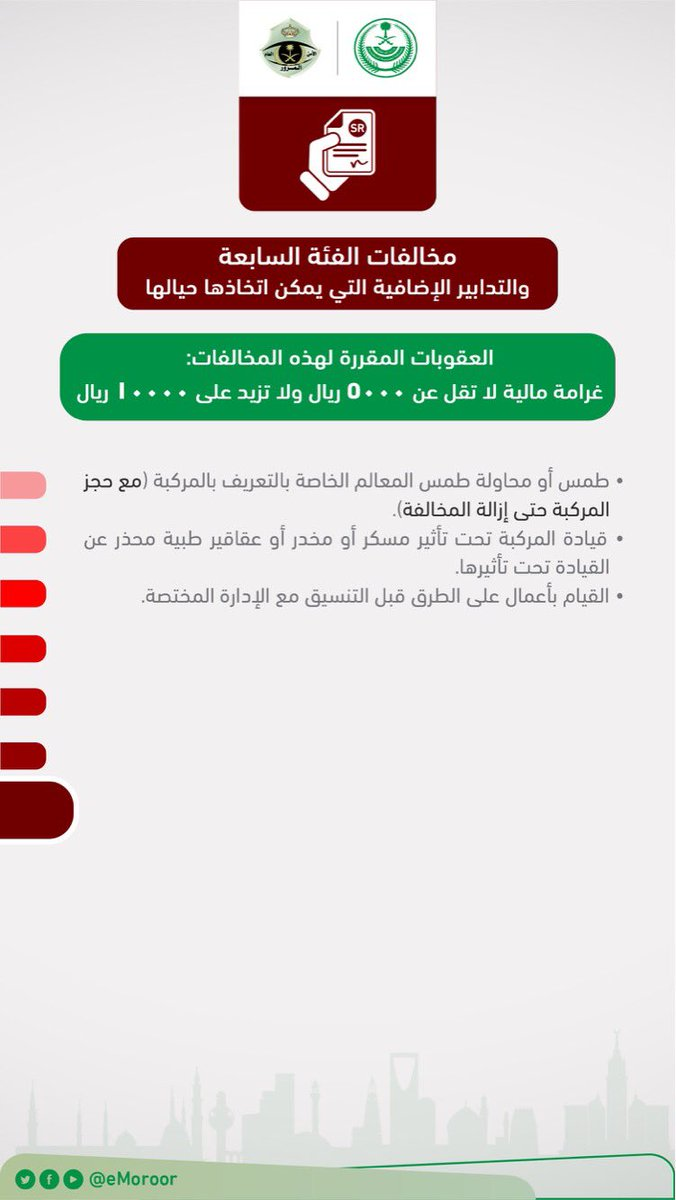 المرور السعودي Ar Twitter لائحة المخالفات المرورية المغلظة بحسب قرار مجلس الوزراء والتي لا ترتفع لحدها الأعلى إلا بقرار هيئة الفصل بالمخالفات المرورية المرور السعودي Https T Co Iak42j3osw