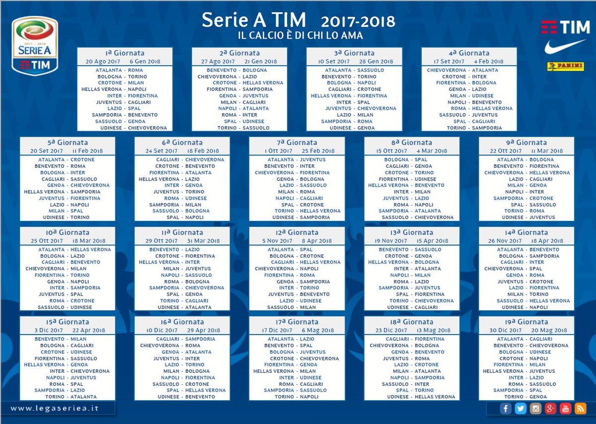 Calendario Serie A 2017-2018 di calcio: iniziano Juventus-Cagliari